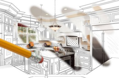 Pencil Erasing Drawing To Reveal Finished Custom Kitchen Design Photograph