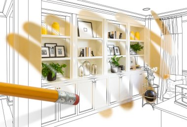 Pencil Erasing Drawing To Reveal Finished Custom Built-in Shelf Design Photograph