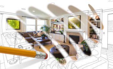 Pencil Erasing Drawing To Reveal Finished Custom Living Room Design Photograph