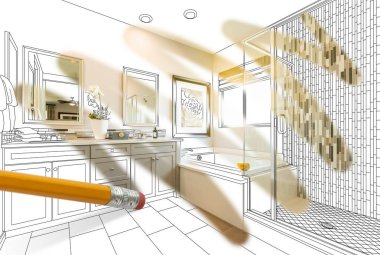 Pencil Erasing Drawing To Reveal Finished Custom Bathroom Design Photograph