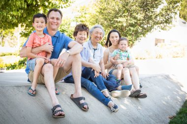 Chinese Grandparents, Mother, Caucasian Father and Mixed Race Children Portrait.