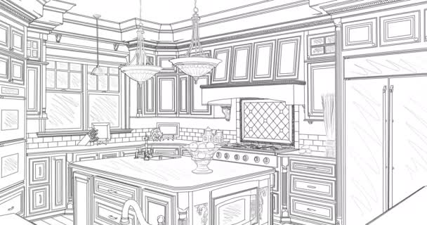 4k Custom Kitchen Drawing Transitioning to Photograph.