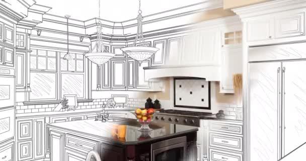 4k egyéni konyhai rajz áttérés a fényképre.