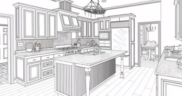 4k vlastní přechod do kuchyňského kreslicího výkresu.