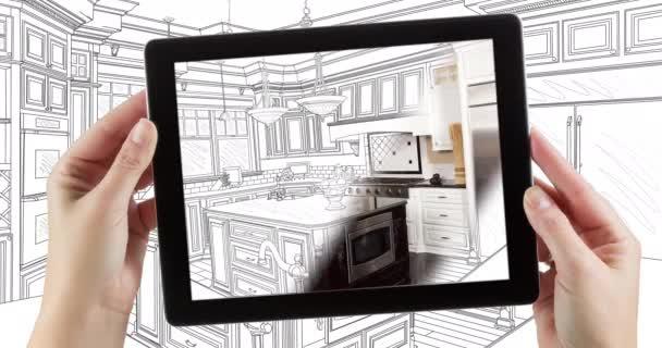 4k looping kinemagraph von computer-tablet mit küchendesign zeichnung übergang zu foto