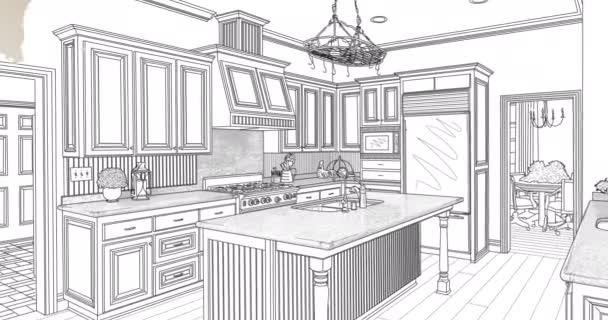 4k vlastní přechod do kuchyňského kreslicího výkresu s tahy štětce.