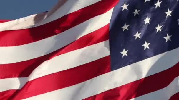 Full HD Left Facing Close-Up American Flag Waving In Wind