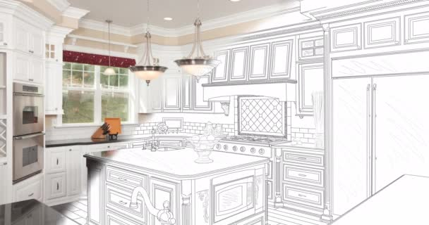 4k Custom Master Bathroom Drawing Brush Stroke Transitioning Down and Right to Photograph with Contractor Watching.