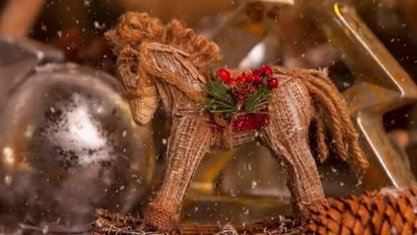 Festive video of Christmas vintage handmade pony decoration for the advent season