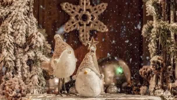 Video von weißen Vögeln in Wintermützen Weihnachtsdekoration für den Advent mit Schneefall-Effekt
