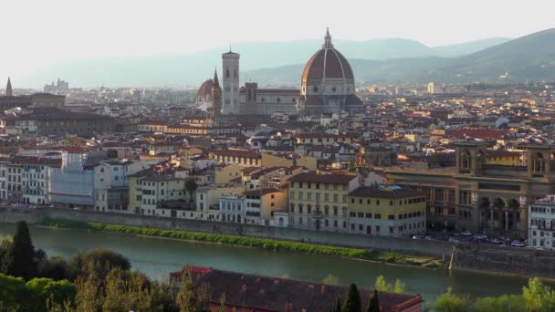 Florence before sunset, as seen from Piazzale Michelangelo, 4K footage.