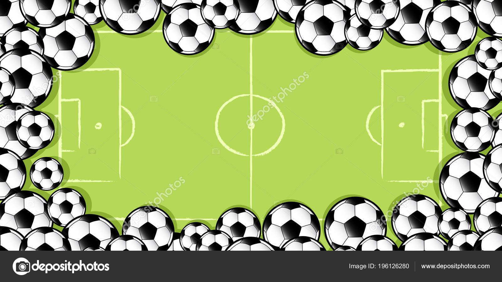 Marco Balones Fútbol Contra Campo Fútbol Del Fútbol — Vector de ...