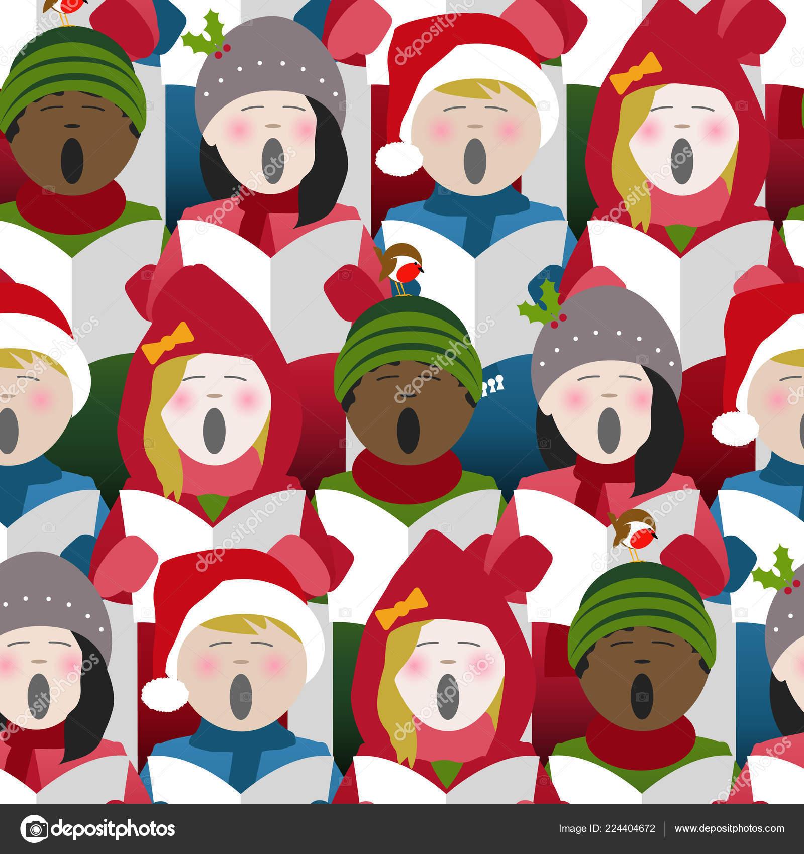 Christmas Singing Images.Children Wearing Winter Clothes Singing Christmas Carols