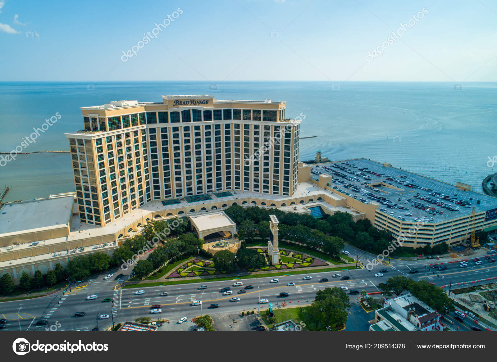 Aerial Drone Image Beau Rivage Biloxi Beach Mississippi Stock