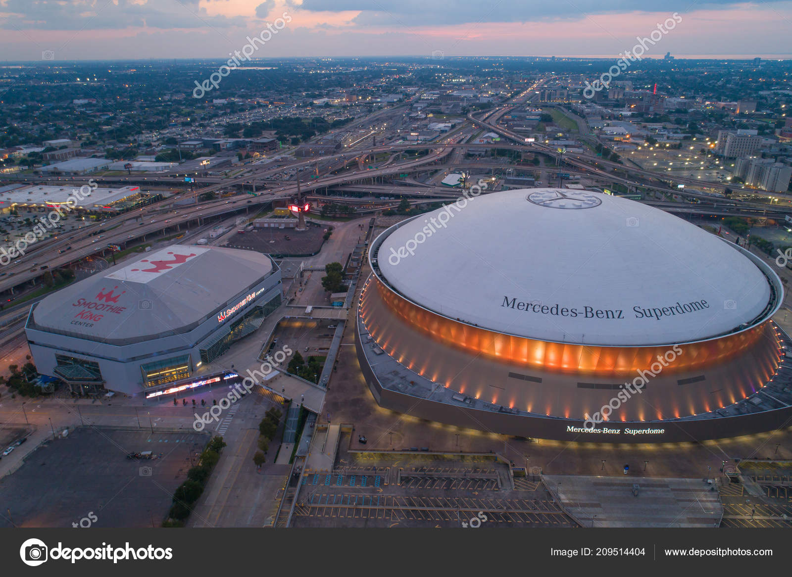 Aerial Drone Photo Twilight Image Mercedes Benz Superdome Downtown New  Orleans Louisiana USA U2014 Foto De Felixtm