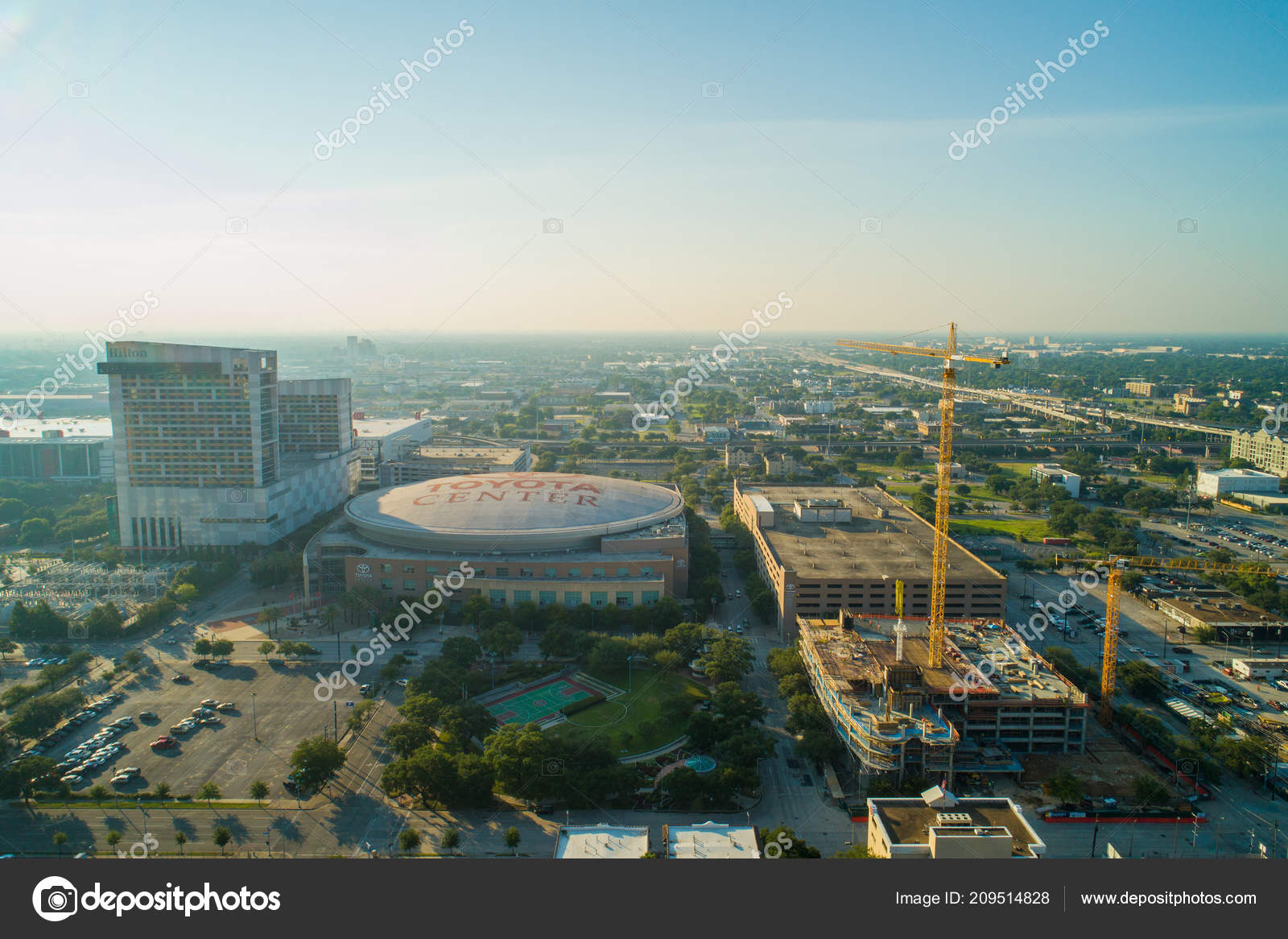 Aerial Drone Image Of The Toyota Center Houston Texas U2014 Photo By Felixtm