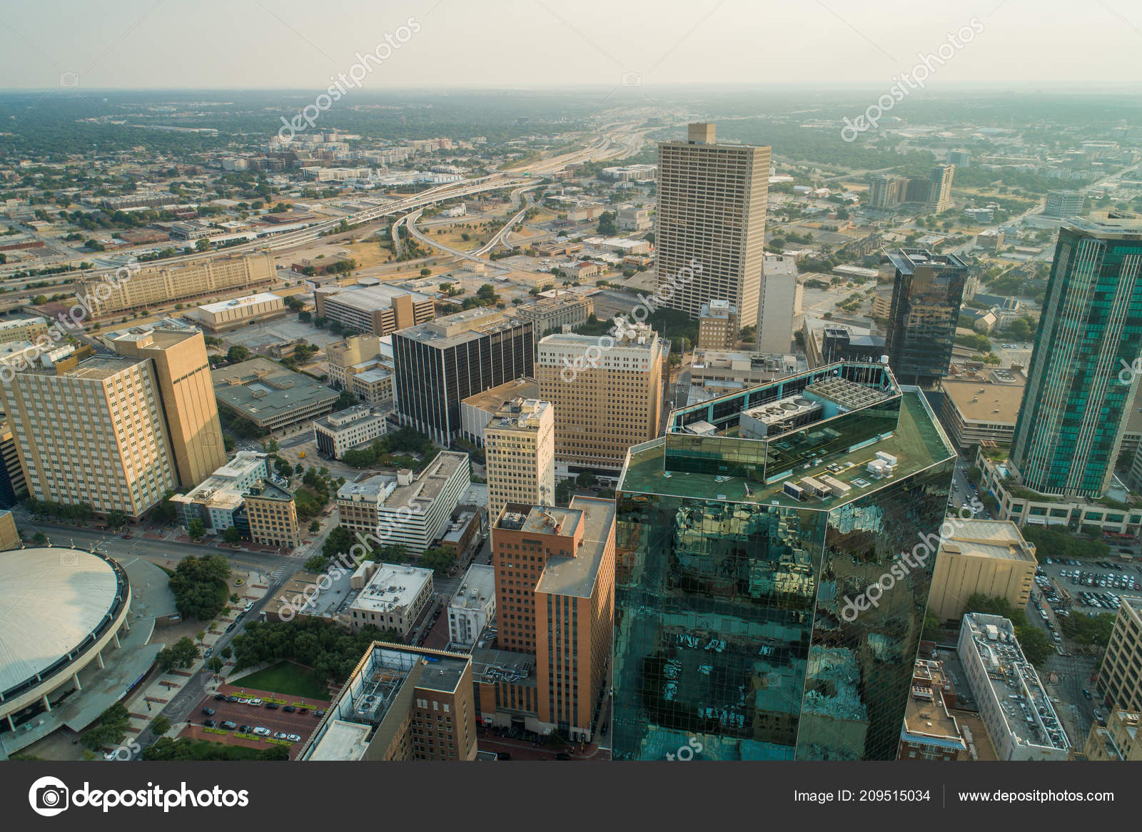 Aerial Image Shot Drone Downtown Fort Worth Texas — Stock