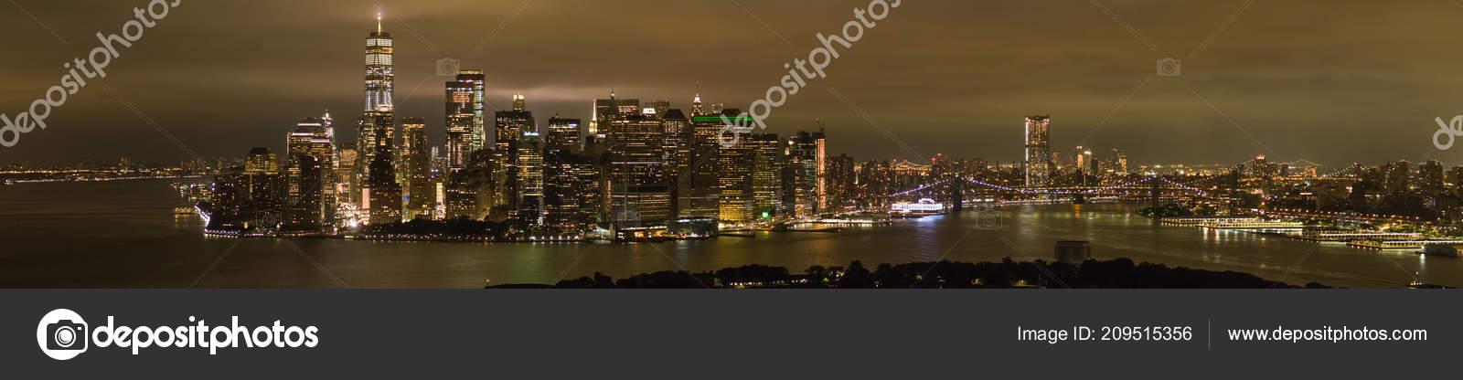 Immagine Drone Aerea Notte New York City Manhattan Notte Con — Foto ...