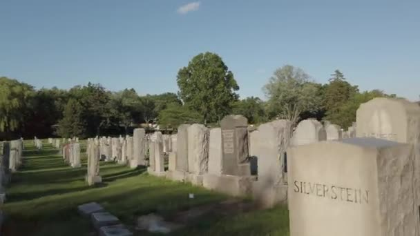 Gravestones in a cemetery motion footage