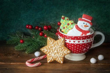 Christmas cookies in the red cup, New year decor