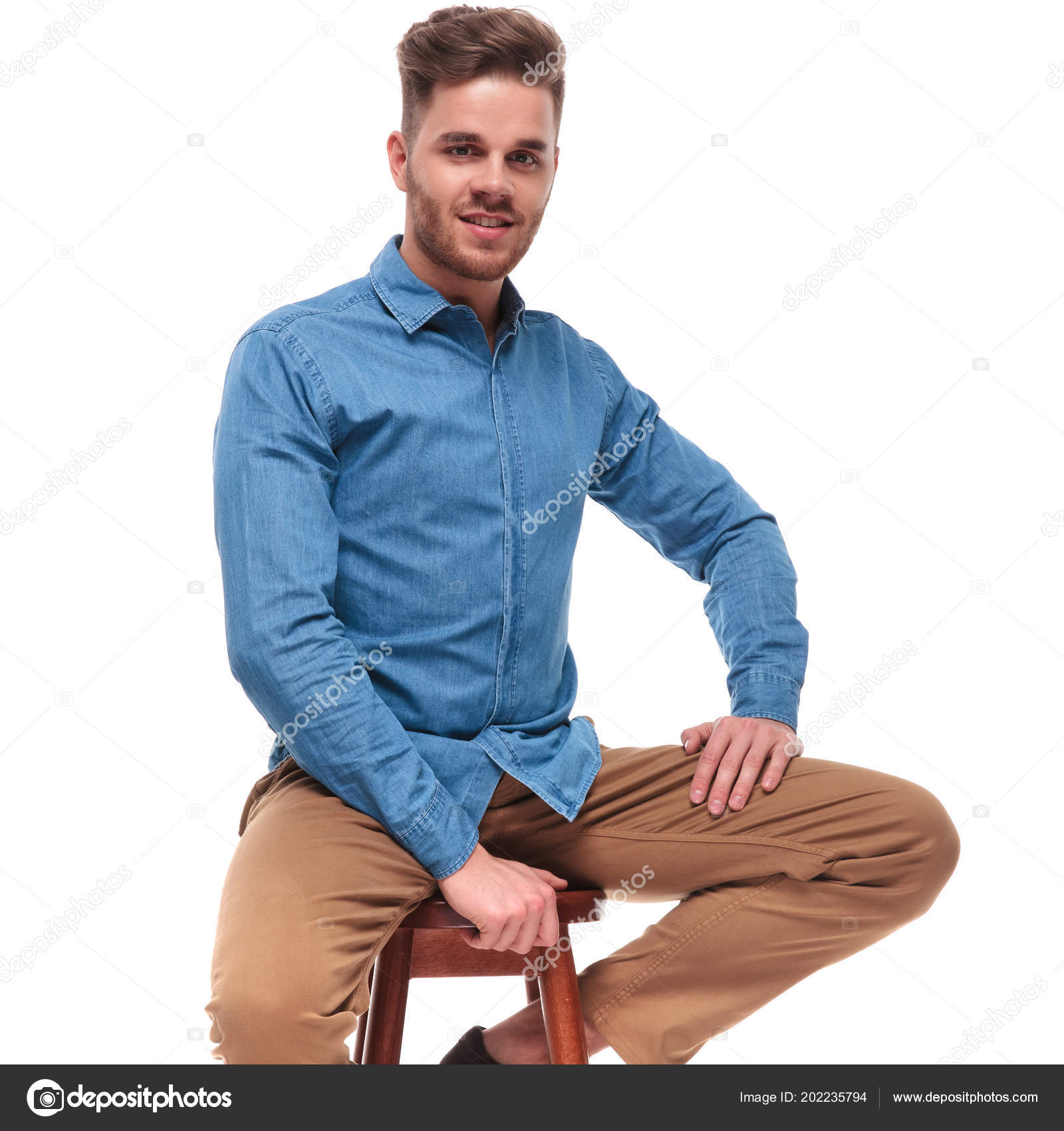 Groovy Portrait Handsome Casual Man Blue Shirt Relaxing Wooden Ocoug Best Dining Table And Chair Ideas Images Ocougorg