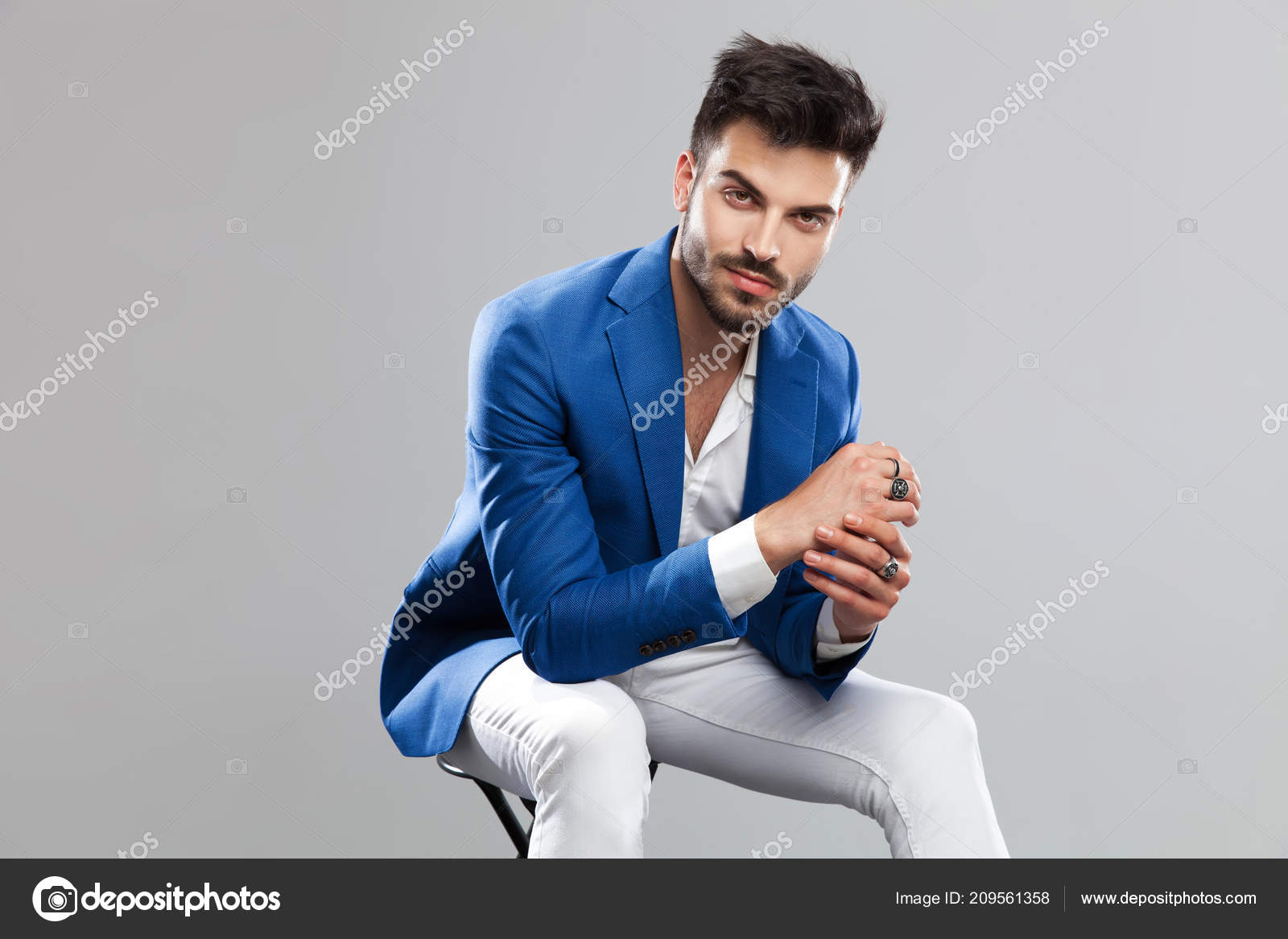 Wondrous Portrait Smiling Smart Casual Man Sitting Wooden Stool Ocoug Best Dining Table And Chair Ideas Images Ocougorg