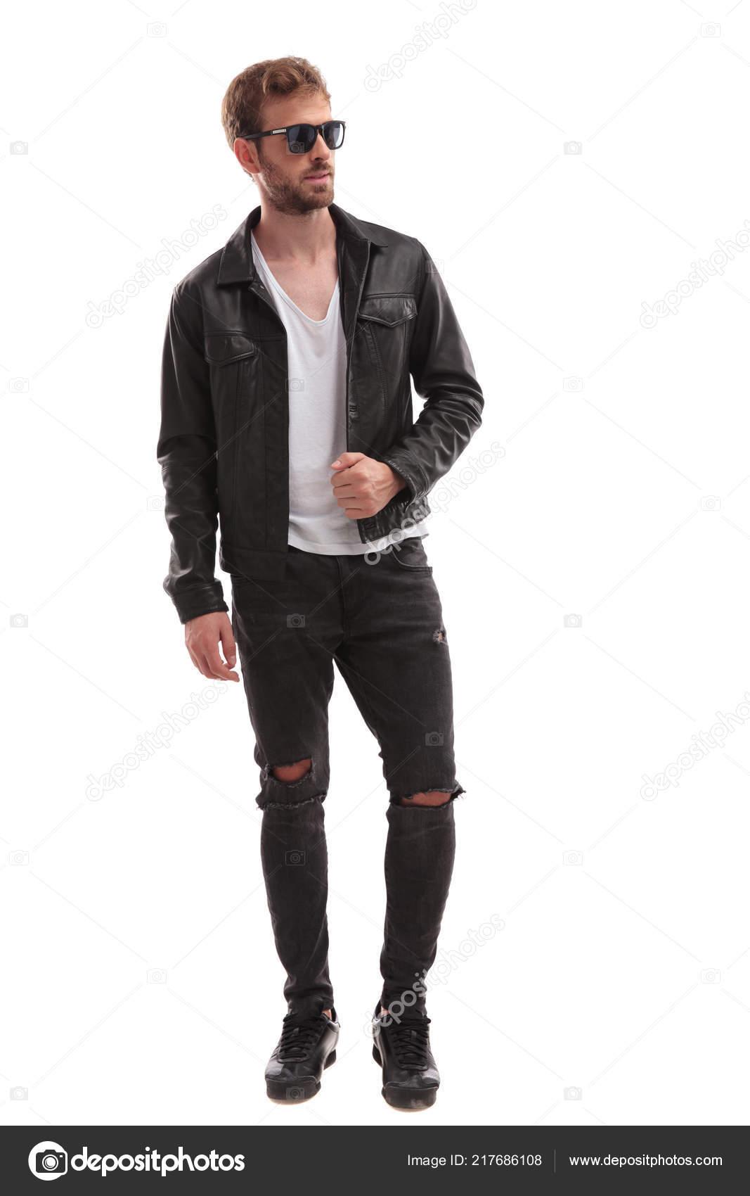 prix modéré prix abordable grande vente au rabais Bel Homme Cool Porter Veste Cuir Lunettes Soleil Ressemble ...