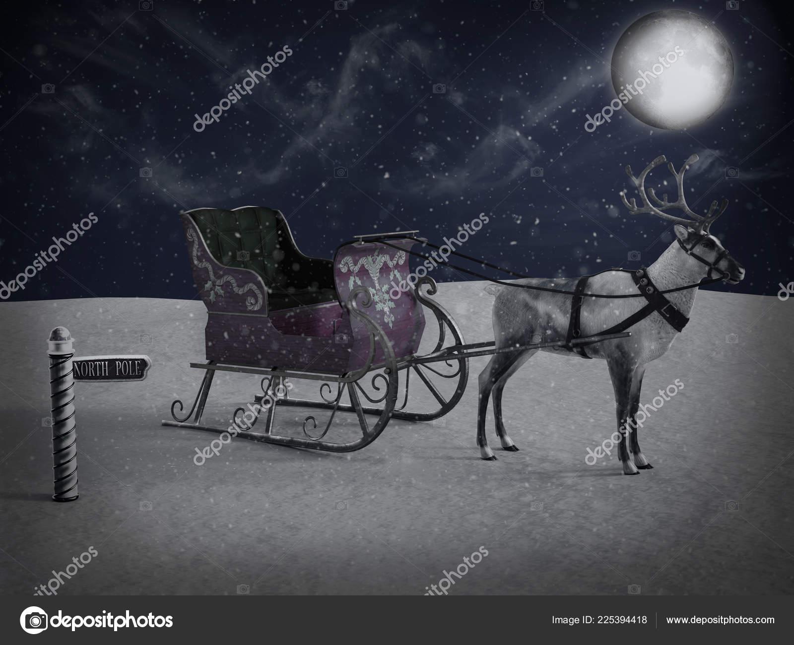 rendering north pole sign reindeer pulling sleigh waiting santa come