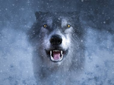 3D rendering of a gray wolf looking ready to attack and growling in the middle of a snow storm.