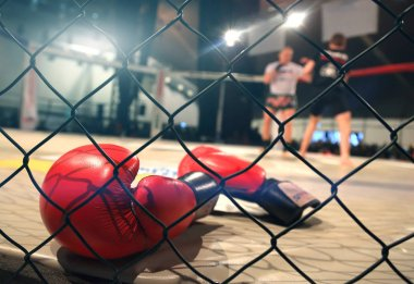 MMA fight scene with boxing gloves in foreground