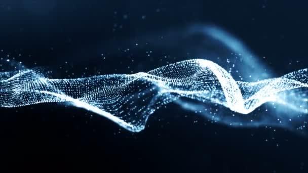 Digitální modrá barva částice wave a bokhe abstraktní pozadí