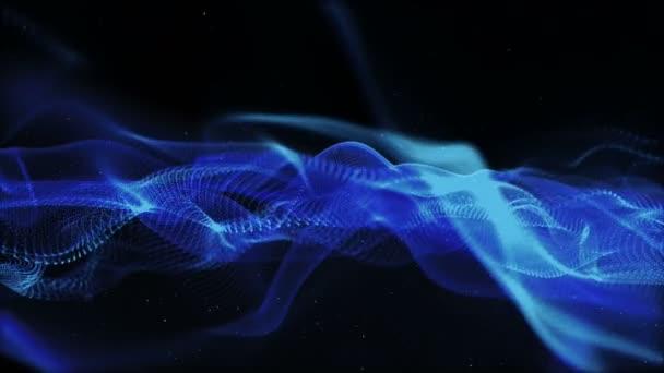 Digitální modrá barva částice a bokeh pohybu abstraktní pozadí