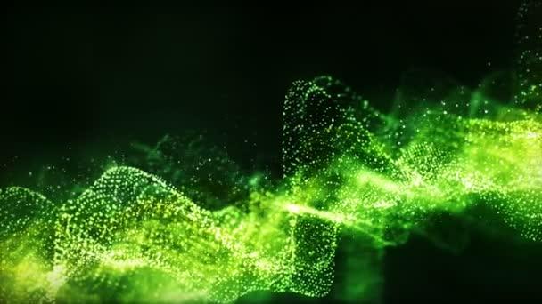 Digitální zelené částice s pohybem mřížky abstraktní pozadí