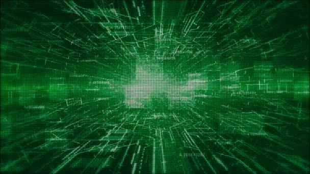 Hi-Tech digitální a informací motion grafika abstraktní pozadí zelené barvy