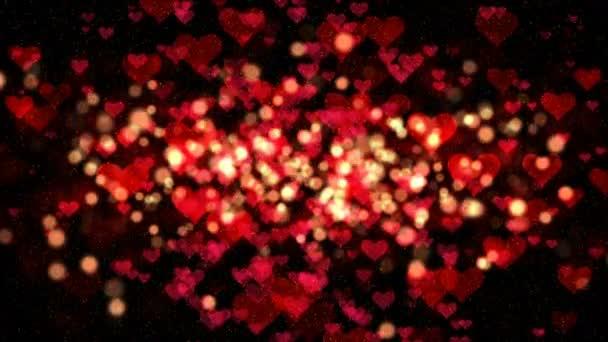 Valentin háttér, absztrakt szív alakú és részecskék