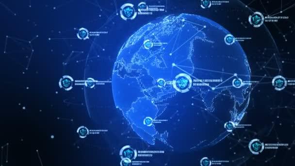 Pajzs ikon a biztonságos globális hálózat, számítógépes biztonsági koncepció. Felszerelt-a Nasa föld elem