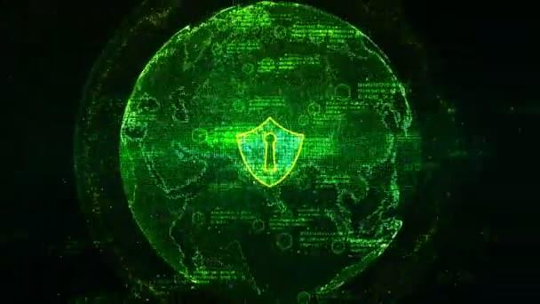 Ikona štítu na zabezpečenou globální sítě, Cyber bezpečnostní koncepci. Element země jsou podle Nasa