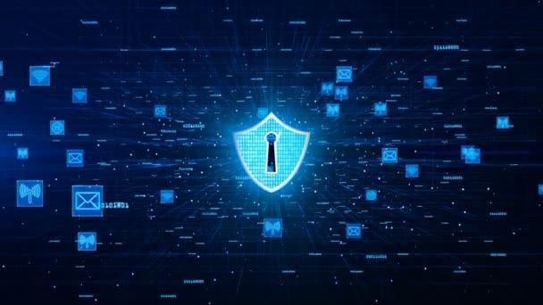 Pajzs ikon és a biztonságos hálózati kommunikáció, számítógépes biztonsági koncepció.