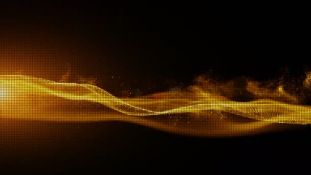 Abstract Gold Color Digital Particles Wave Background