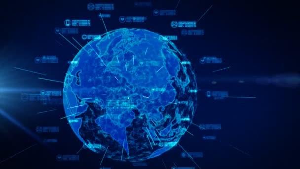 Zabezpečená datová síť. Počítačové zabezpečení a ochrana koncepce osobních údajů. Zemský prvek zařízený NASA