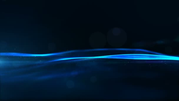 Digital Blue Color Particles Wave and Light Abstract Background