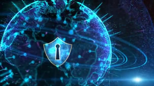 Futuristic Background Motion Element, Shield Icon and Secure Global Network, Cyber Security and Protection of personal data concept. Earth element furnished by Nasa