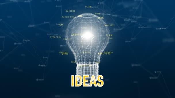 Technologie Datennetzwerk mit digitaler Lampe auf blauem Hintergrund kreative Idee