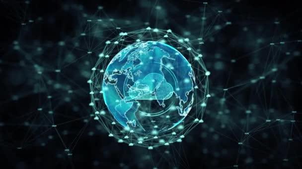 Cybersicherheit Cloud Computing Big Data Online-Speicherung und Schutztechnologie Netzwerk und Datenverbindungskonzept. Erdelement von der nasa