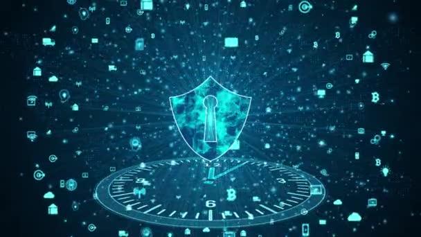 Štít ikona zabezpečené datové sítě, počítačová bezpečnost a ochrana informační sítě, budoucí technologická síť pro obchodní a internetové marketingové koncepce.