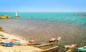 Fotografie Panoramic view of Black Sea port of Ahtopol, Bulgaria