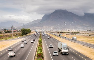 Top view of highway in Cape Town, South Africa.