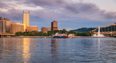 View of Pittsburgh skyline and Point State Park from the Ohio River