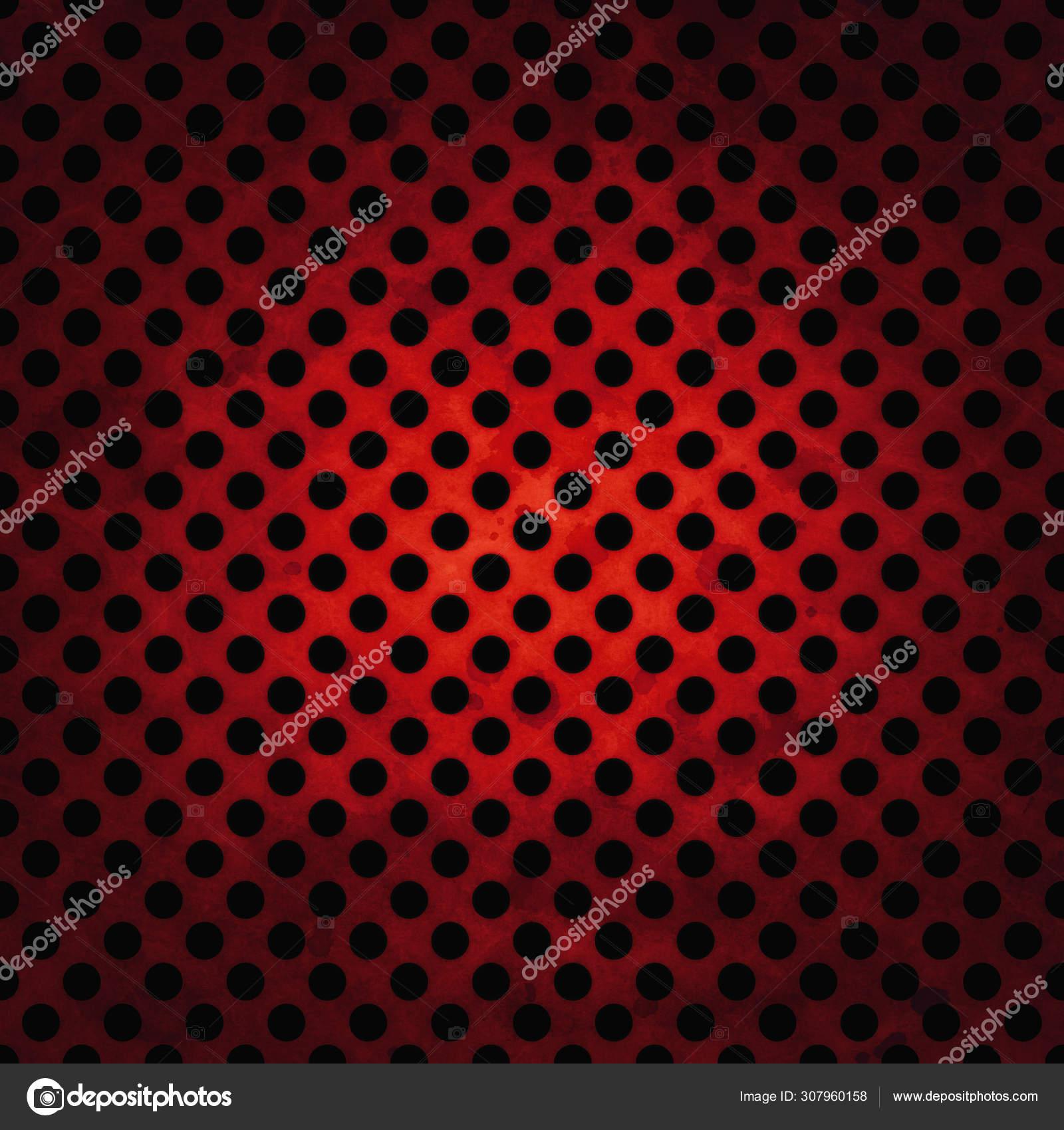 Fond Noir Foncé Avec Illustration Rouge Grille Métal Avec
