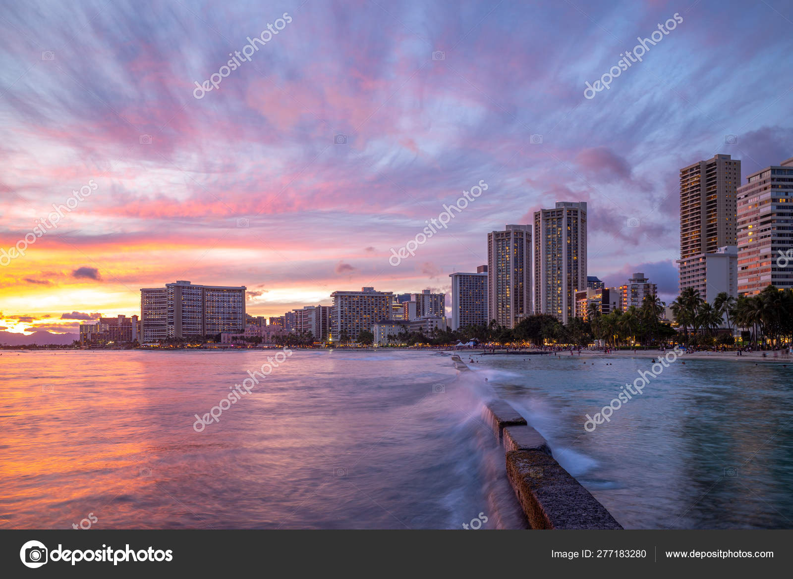 Skyline Honolulu Waikiki Beach Hawaii Stock Photo